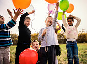 Cheerful kids playing with balloon's