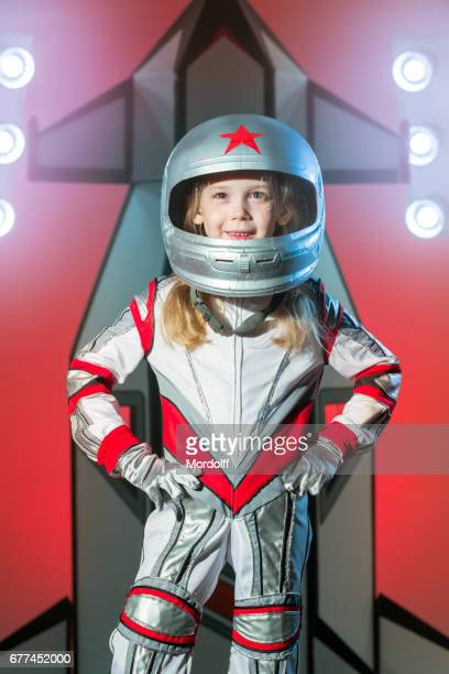 Cheerful Little Girl Cosmonaut