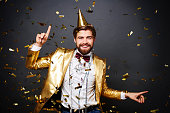 Cheerful man having a fun at party