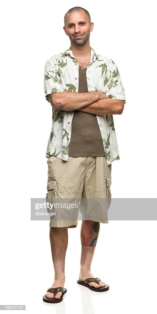 Cheerful Man in Hawaiian Shirt and Shorts