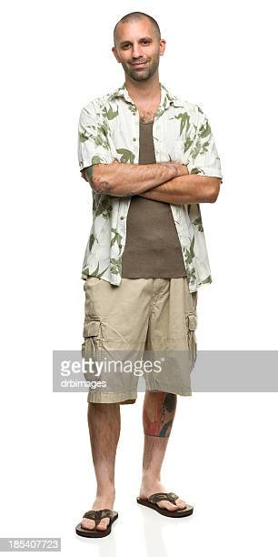 Cheerful Man in Hawaiian Shirt and Shorts