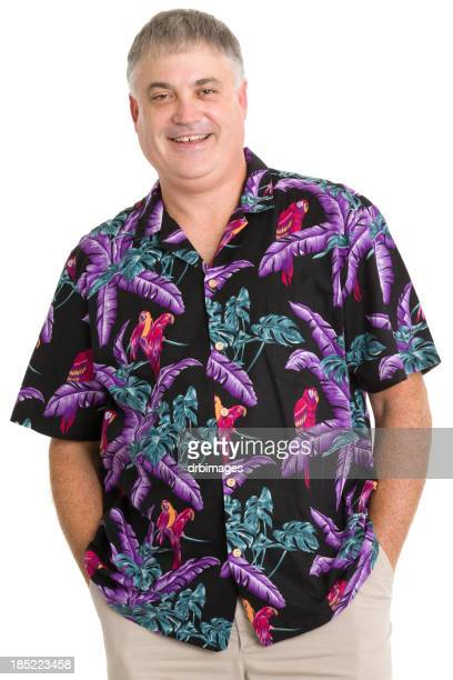 Cheerful Man In Hawaiian Shirt