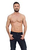 Cheerful shirtless muscular man isolated on white