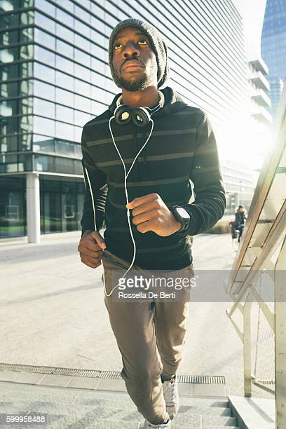 Cheerful Man Running Outdoors In The Early Morning