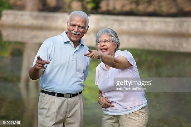 Cheerful mature woman and man pointing at something in park
