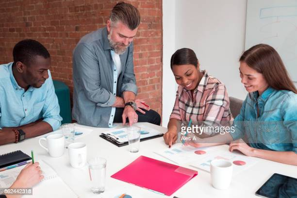 Cheerful people working in the office