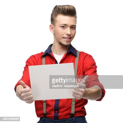 cheerful retro man holding sign : Stock Photo