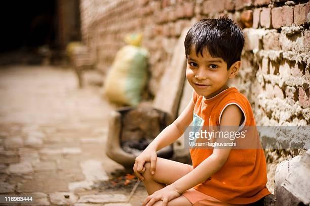 Cheerful Rural Indian Boy Child