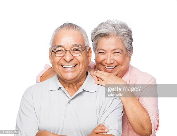 Cheerful senior couple in white background
