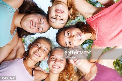 Cheerful teenage girls : Stock Photo