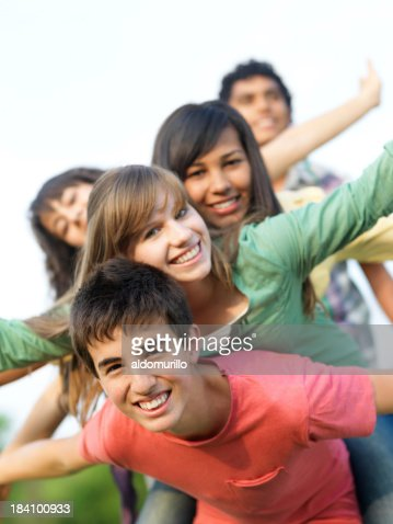 Cheerful teenagers having fun