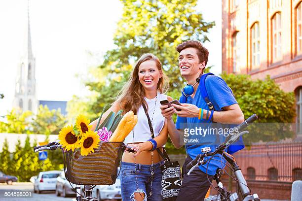 Cheerful urban young couple