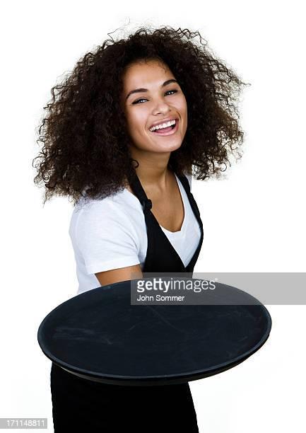 Cheerful waitress isolated on white background