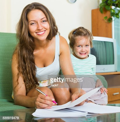 Cheerful woman and girl : Stock Photo