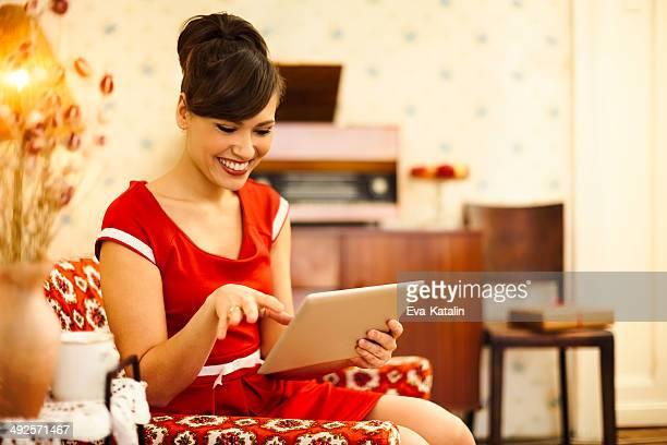 Cheerful woman at home
