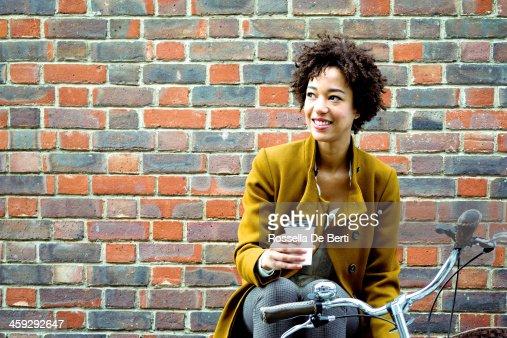 Cheerful Woman Drinking Tea