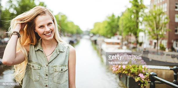 cheerful woman in amsterdam