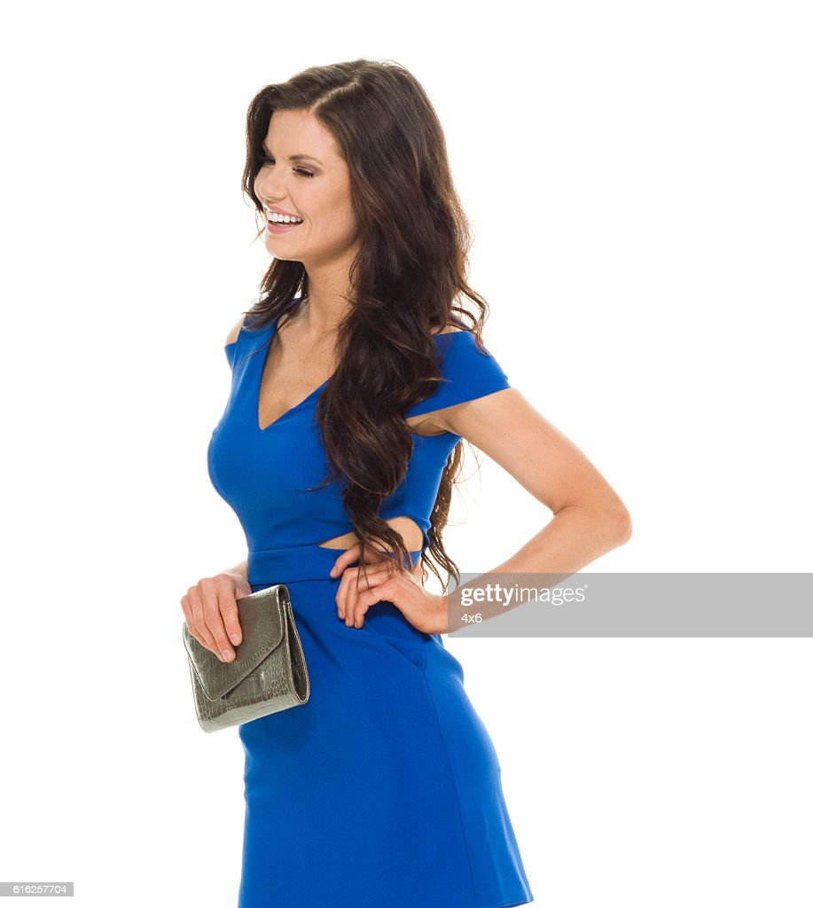 Cheerful woman looking away : Stock Photo