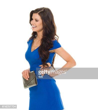 Cheerful woman looking away : Stock Photo