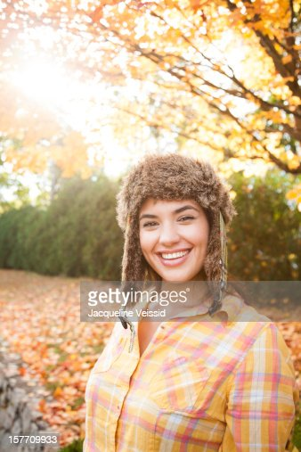 Cheerful woman wearing hat in Autumn : Stock Photo