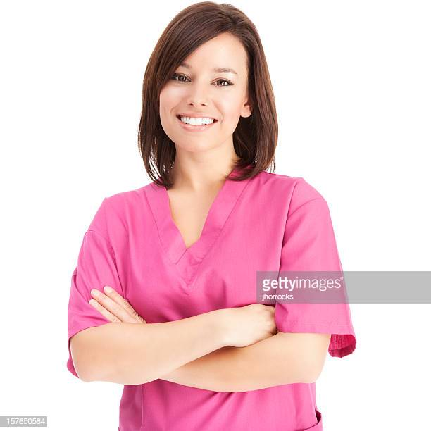 Cheerful Young Nurse in Pink Scrubs