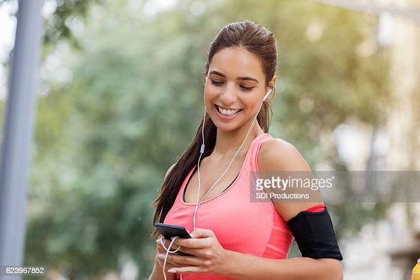 Cheerful young woman before morning exercise