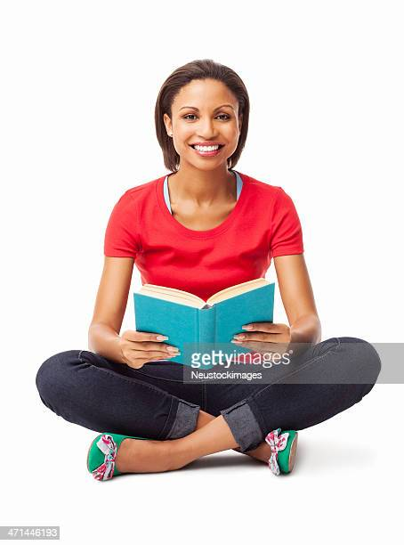 Cheerful Young Woman Holding Book - Isolated