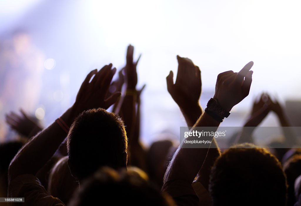 Cheering and watching crowd, blurred motion. : Stock Photo