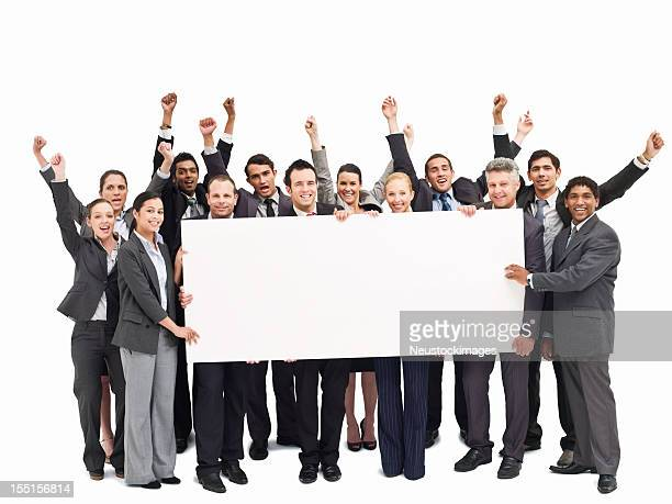 Cheering Businesspeople Holding a Blank Placard - Isolated