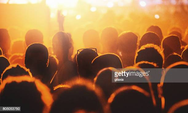 Cheering crowd at a concert.