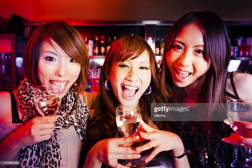 Cheering Girls at the Nightclub Bar : Stock Photo