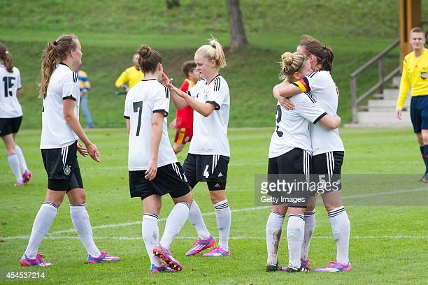 Cheering of the German U17 Girl's after the international friendly match between U17 Girl's Germany and U17 Girl's Romania on September 3 2014 in...