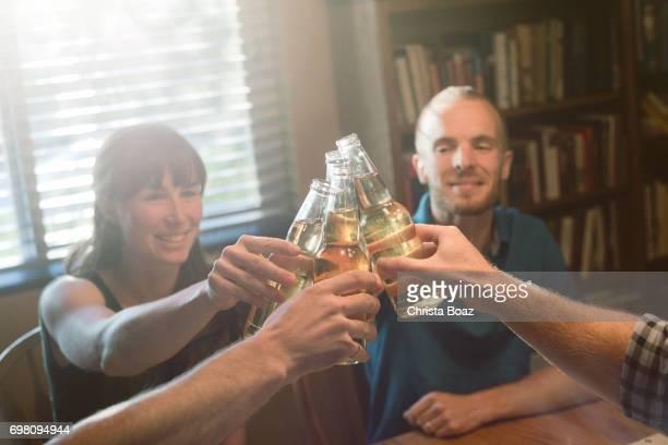 Cheering with Beer Bottles