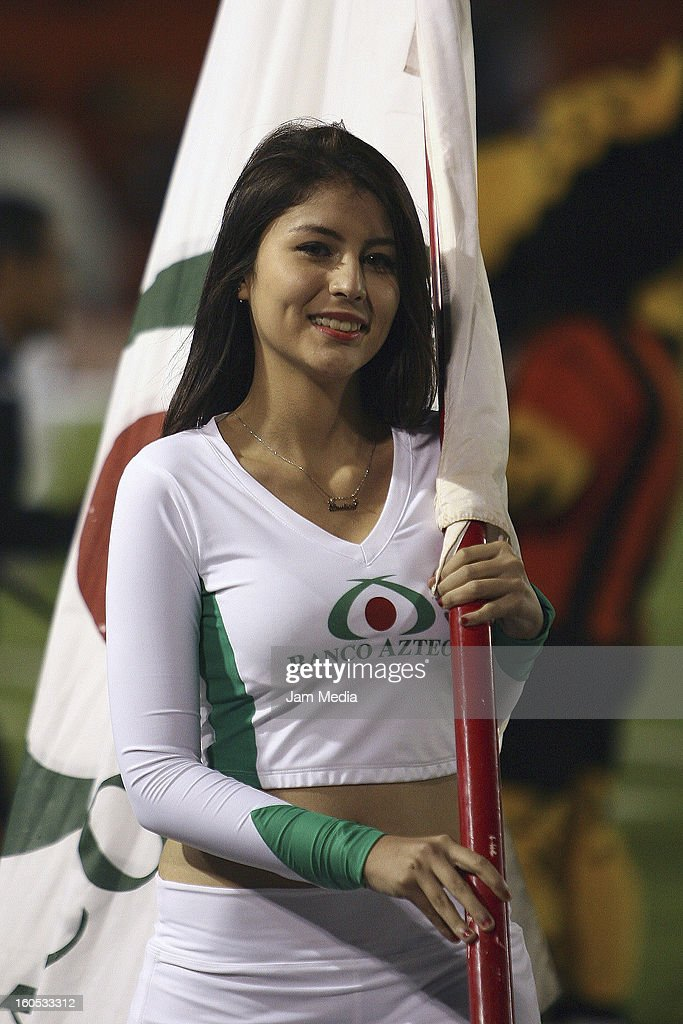 A cheerleader during a match between Jaguares and Atlas as part of the Clausura 2013 Liga MX at Victor Manuel Reyna Stadium on February 01, 2013 in Tuxtla Gutierrez, Mexico.