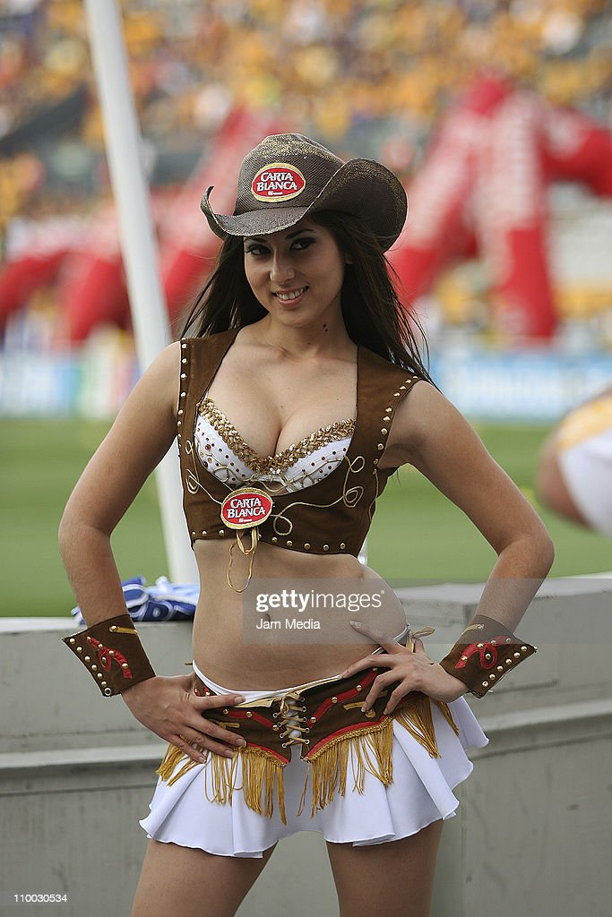 Cheerleader during a match between Tigres and San Luis as part of the Clausura 2011 Tournament in the Mexican Football League at Universitary Stadium on March 12, 2011 in Monterrey, Mexico.