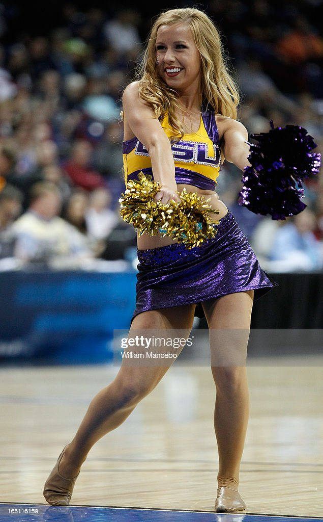 A cheerleader for the LSU Lady Tigers performs during the game against the California Golden Bears in the NCAA Division I Women's Basketball Regional Championship at Spokane Arena on March 30, 2013 in Spokane, Washington.