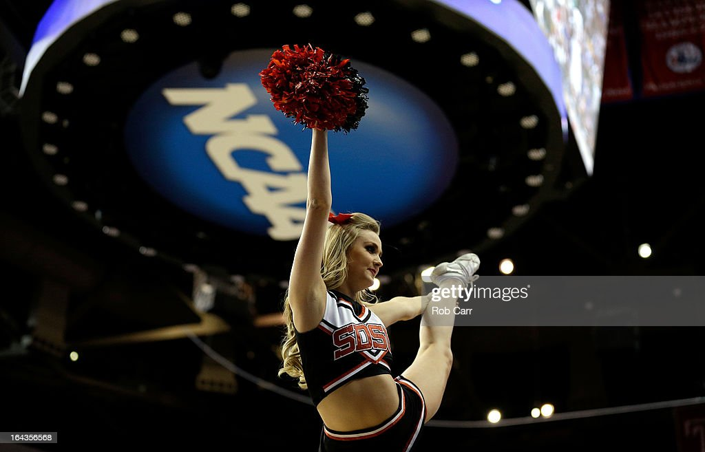 A cheerleader for the San Diego State Aztecs performs against the Oklahoma Sooners during the second round of the 2013 NCAA Men's Basketball Tournament at Wells Fargo Center on March 22, 2013 in Philadelphia, Pennsylvania.