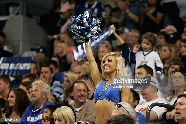 A cheerleader for the Tampa Bay Lightning performs in Game Four of the Eastern Conference Finals against the Boston Bruins during the 2011 NHL...
