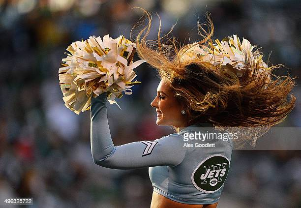 A cheerleader in the fourth quarter during the game between the New York Jets and the Jacksonville Jaguars at MetLife Stadium on November 8 2015 in...