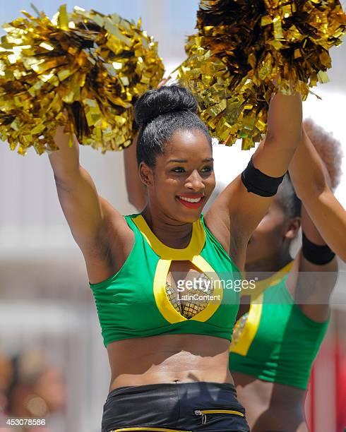 Cheerleader of Jamaica Tallawahs during a match between Jamaica Tallawahs and Guyana Amazon Warriors as part of week 4 of the Caribbean Premier...