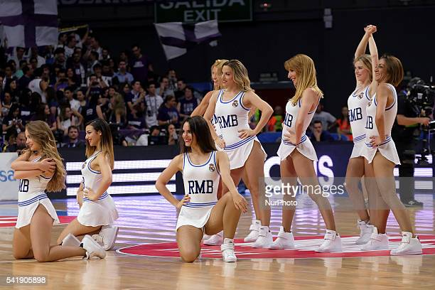 cheerleader of Real Madrid during the play off round 3 match between FC Barcelona Lassa and Real Madrid at Barclaycard Center in Madrid Spain on June...