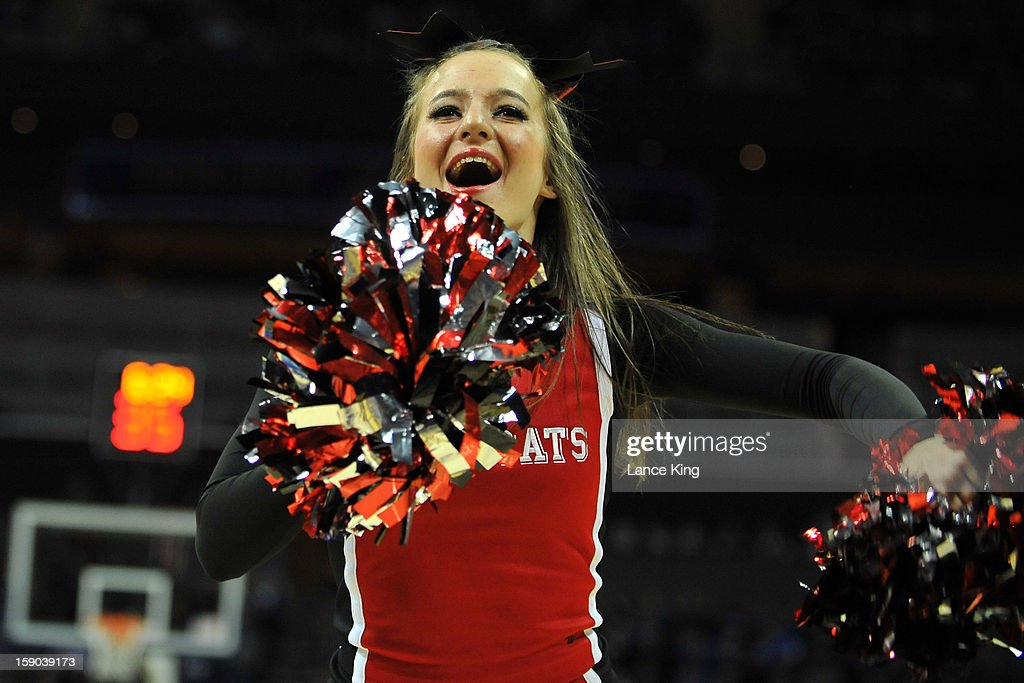 A cheerleader of the Davidson Wildcats performs during a stop in play against the Duke Blue Devils at Time Warner Cable Arena on January 2, 2013 in Charlotte, North Carolina. Duke defeated Davidson 67-50.