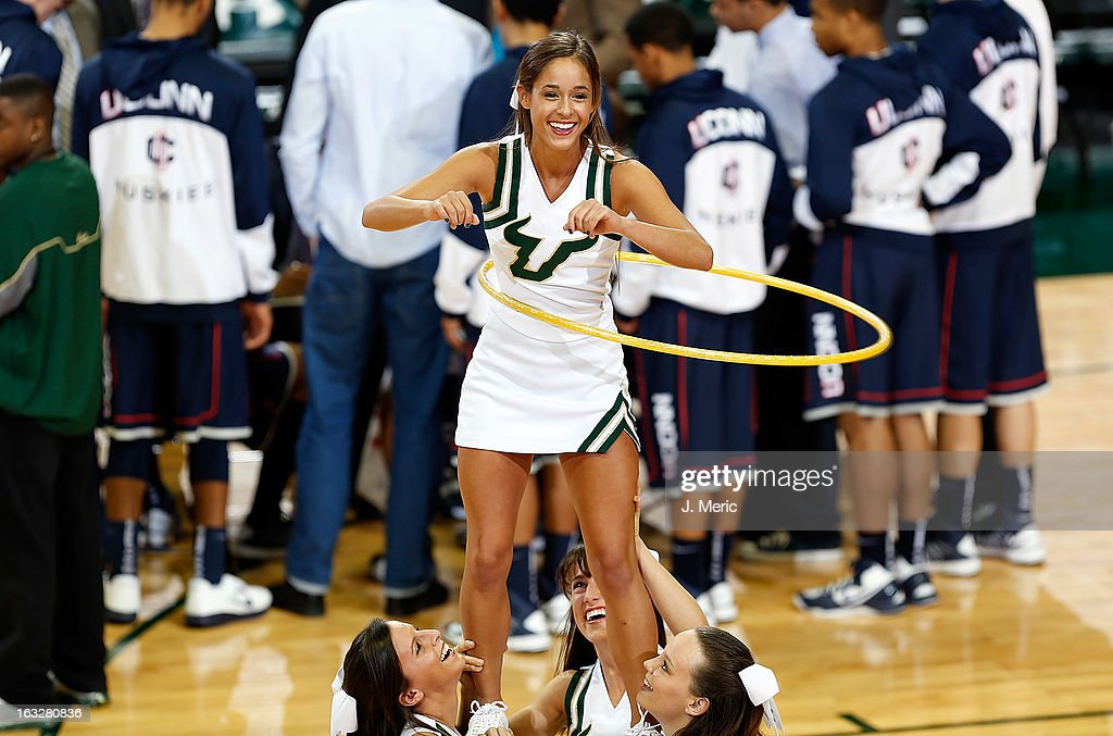A cheerleader of the South Florida Bulls performs against the Connecticut Huskies during the game at the Sun Dome on March 6, 2013 in Tampa, Florida.