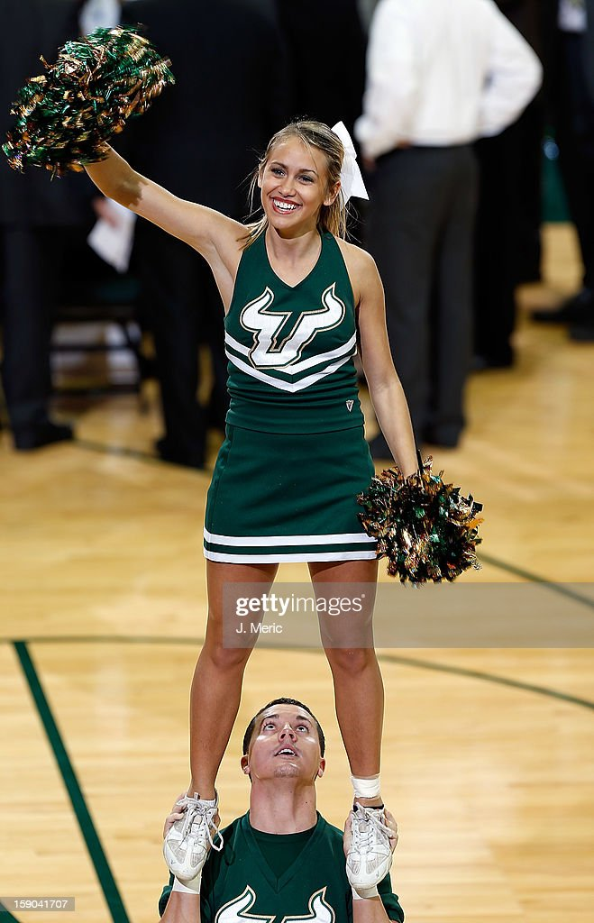 A cheerleader of the South Florida Bulls performs during the game against the Syracuse Orange at the Sun Dome on January 6, 2013 in Tampa, Florida.