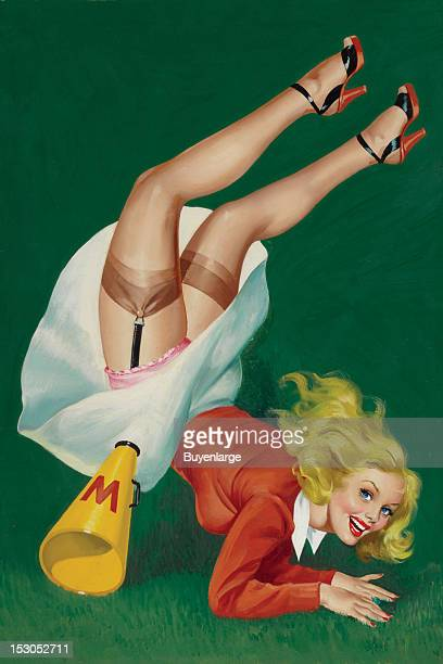 Cheerleader tumbles revealing her silk stockings and garter belt her megaphone with a W on it tumbles as she falls face first onto the grass 1951 By...