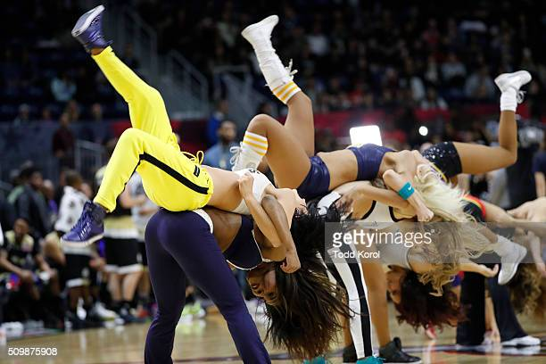 Cheerleaders all the NBA teams perform during a break in the annual celebrity game part of the NBA allstar weekend in Toronto Ontario Toronto...