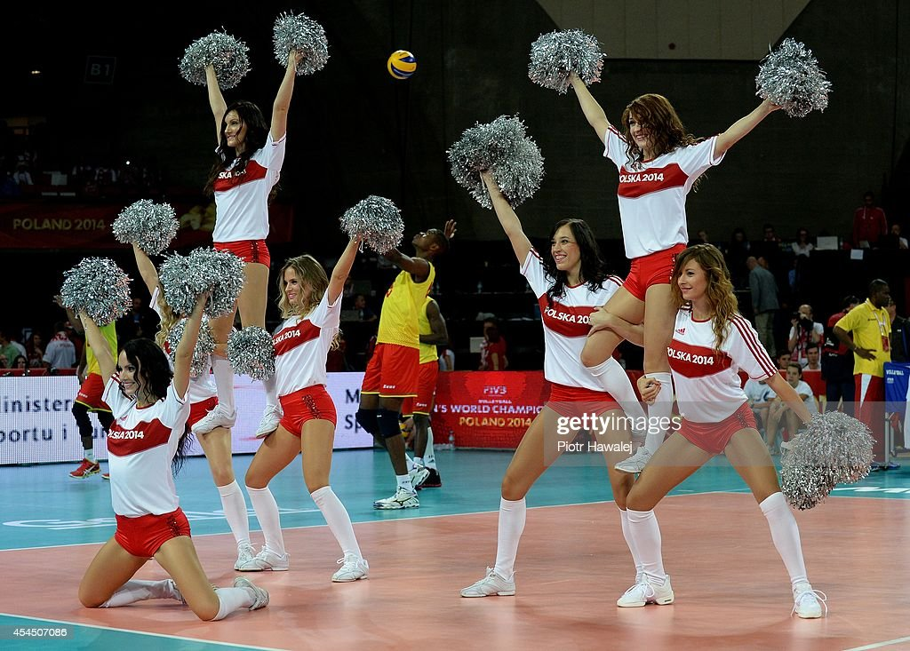 Cheerleaders dance during the FIVB World Championships match between Venezuela and Cameroon on September 2, 2014 in Wroclaw, Poland.