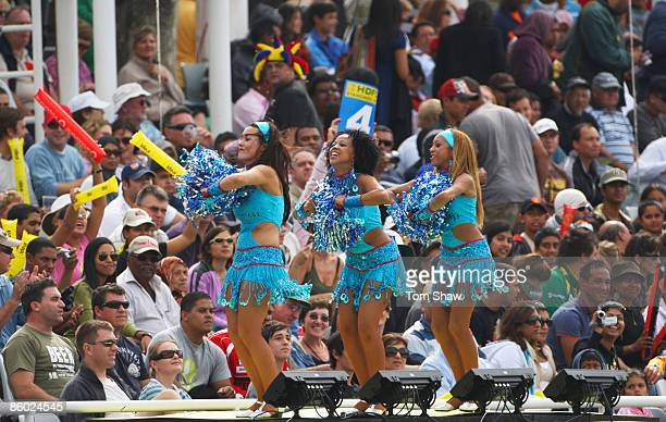 Cheerleaders dance during the IPL T20 match between Mumbai Indians and Chennai Super Kings at Newlands Cricket Ground on April 18 2009 in Cape Town...