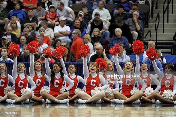 Cheerleaders for the Cornell Big Red celebrate after a made basket while taking on the Wisconsin Badgers during the second round of the 2010 NCAA...