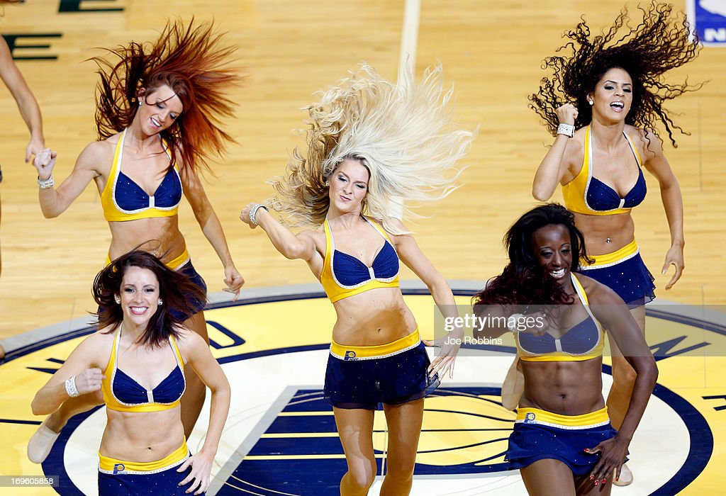 Cheerleaders for the Indiana Pacers perform against the Miami Heat during Game Four of the Eastern Conference Finals of the 2013 NBA Playoffs at Bankers Life Fieldhouse on May 28, 2013 in Indianapolis, Indiana.